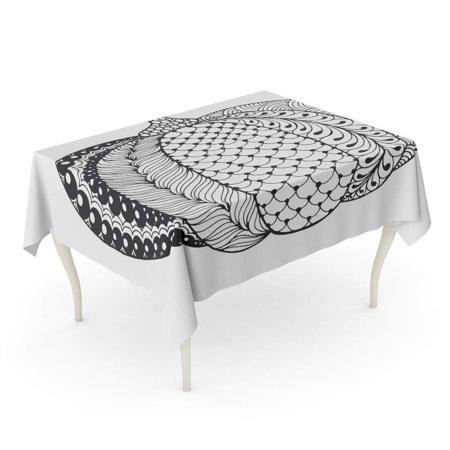 SIDONKU Zentangle Pumpkin Black White Traditional Symbol of Thanksgiving Halloween Tablecloth Table Desk Cover Home Party Decor 60x104 inch (Text Halloween Symbols)
