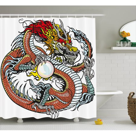 Dragon Shower Curtain Traditional Chinese Creature Holding A Large Pearl Zodiac Signs Folk Tattoo Graphic