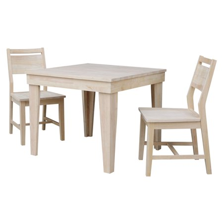 Aspen Solid Wood Dining Table With 2 Aspen Panel Chairs Unfinished 3 Piece Set