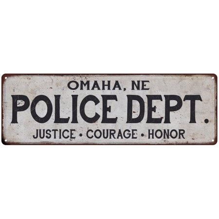 OMAHA, NE POLICE DEPT. Home Decor Metal Sign Gift 6x18 206180012034