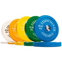 Everyday Essentials Color Coded Olympic Bumper Plates w Steel Hub, 10-370 lbs, Singles and Sets