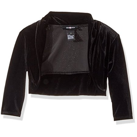 Amy Byer Little Girls' Velvet Shrug, Black, 6 - Girls Velvet Shrug