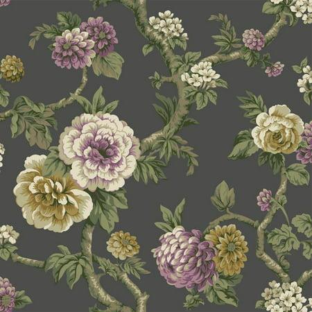 Green Floral Vine - York Wallcoverings PR9065 Purple Lavender Cream Green Tan Floral Vine on Dark Gray