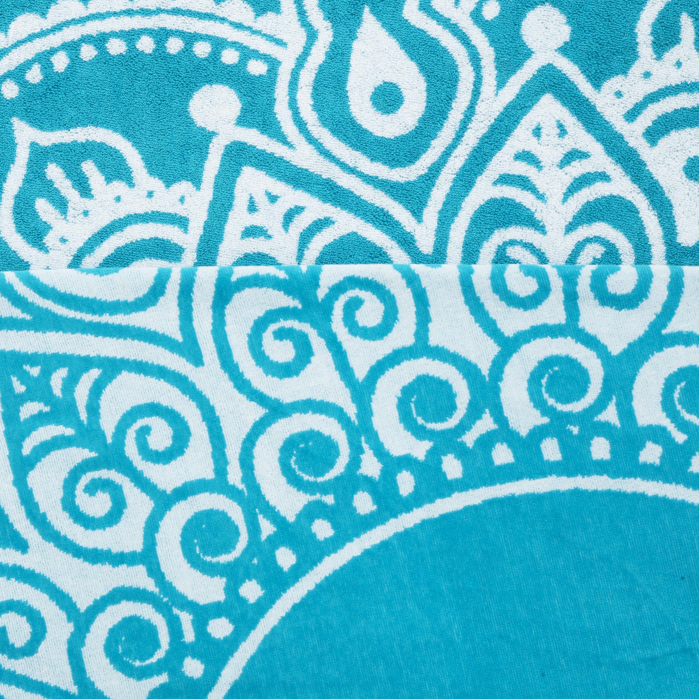 "Superior Super Soft 100% Premium Cotton Eye-Catching Medallion Jacquard Woven 60"" Round Beach Towels"