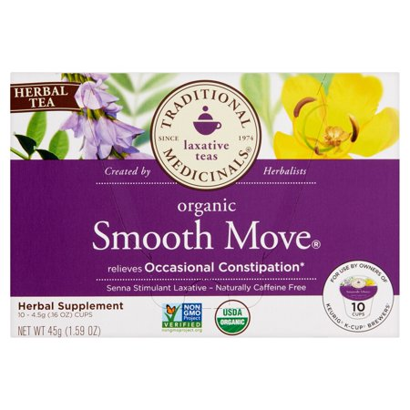 TRADITIONAL MEDICINALS Smooth Move thé à base de plantes bio, 10 comte, .16 oz, 6 Pack
