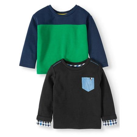 Wonder Nation Toddler Boy Long Sleeve Colorblock T-Shirt & Long Sleeve Pocket T-Shirt, 2 Pack