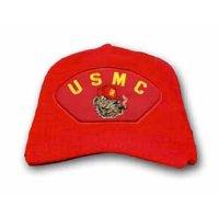 USMC with Smoking Bulldog Marine Corps Red Ballcap
