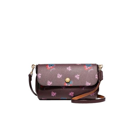 COACH Freversible Wildflower Purple Leather Oxblood Wine Crossbody Flower