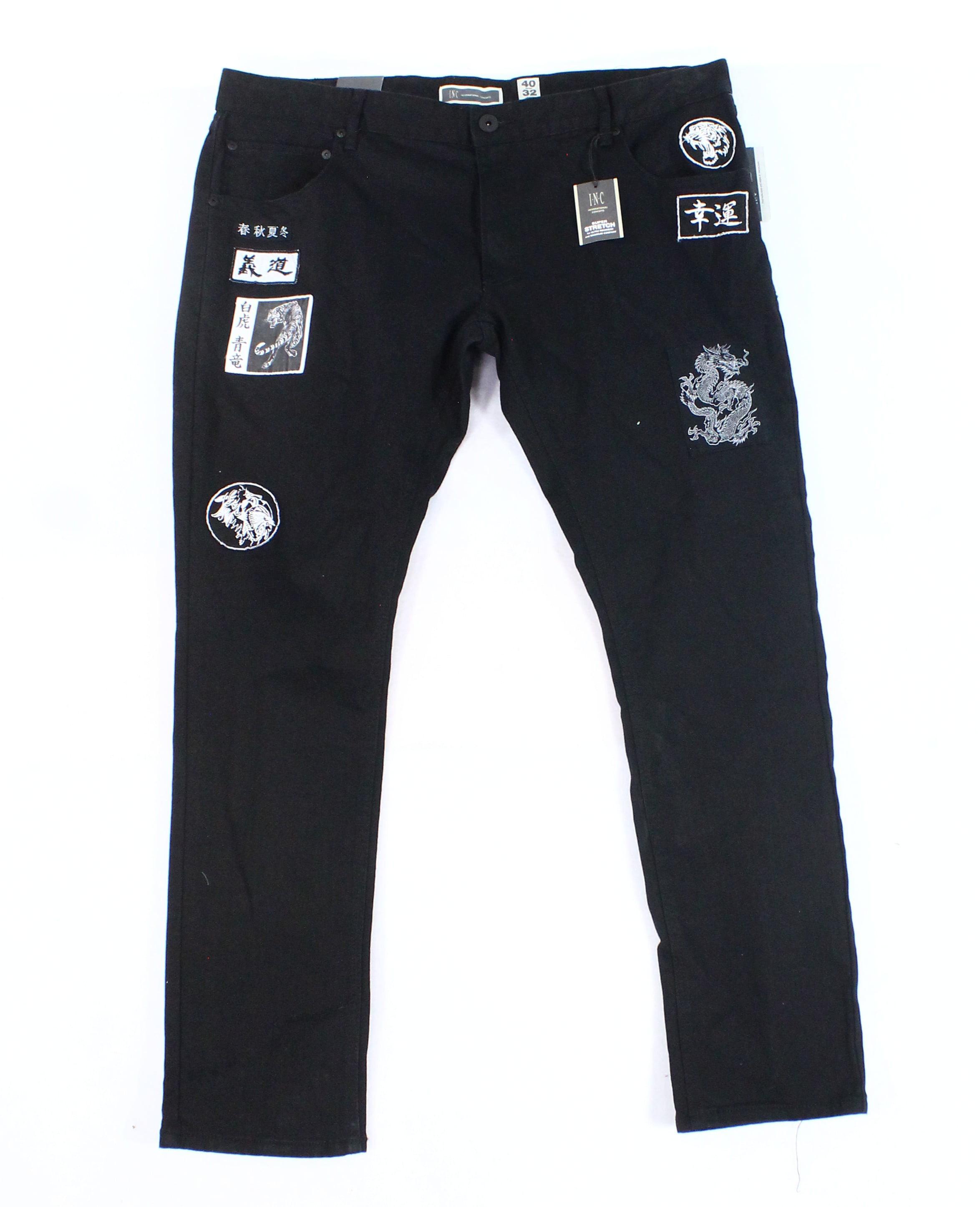 INC NEW Black Men's Size 40x32 Skinny Stretch Patched Denim Jeans