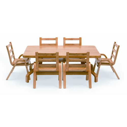 Angeles NaturalWood 20'' Rectangle Preschool Table And Chair Set