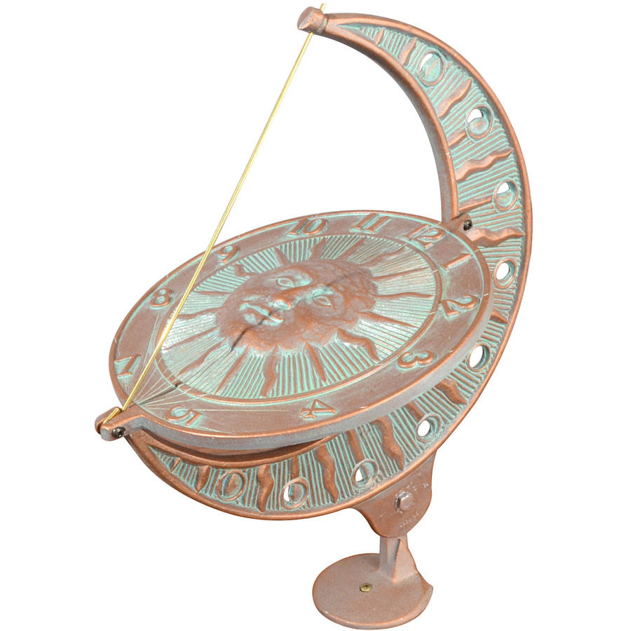 Sun and Moon Sundial, Copper Verdigris