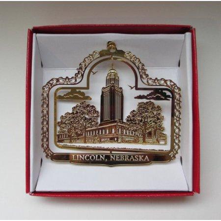 Lincoln Nebraska Christmas Ornament Brass Souvenir Gift