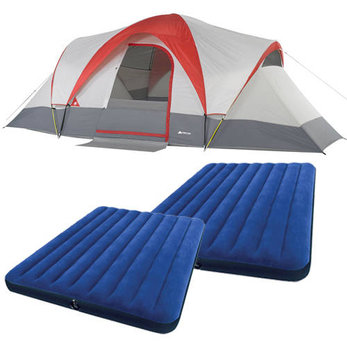 Ozark Trail Weatherbuster 9 Person Dome Tent with Two Bonus Queen Airbeds Value Bundle