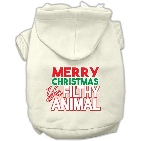 Mirage Pet 62-148 MDCR Ya Filthy Animal Screen Print Pet Hoodie, Cream - Medium