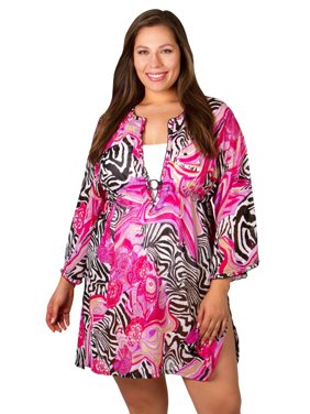 90ae810245599 Product Image Pepperment Bay Plus-Size Cover-up -Abstract Pink