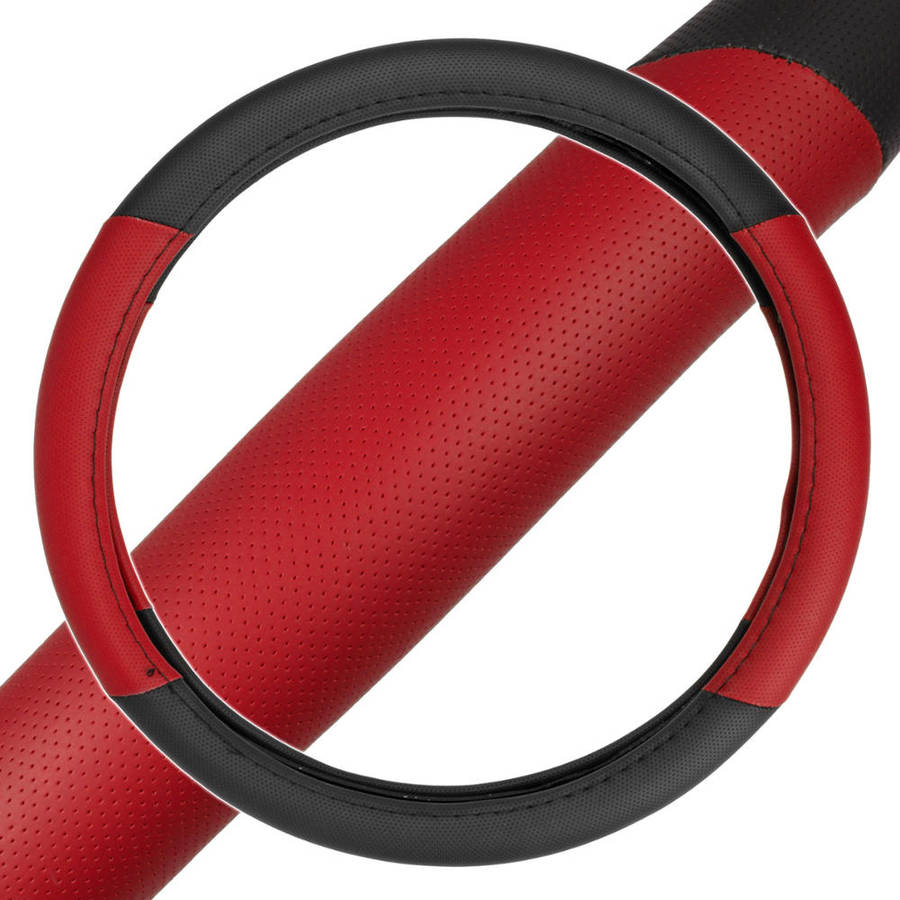"BDK 2-Tone, Perforated PU Leather Car Steering Wheel Cover For Car Van SUV Truck Red, Standard, 14.5""-15.5"""