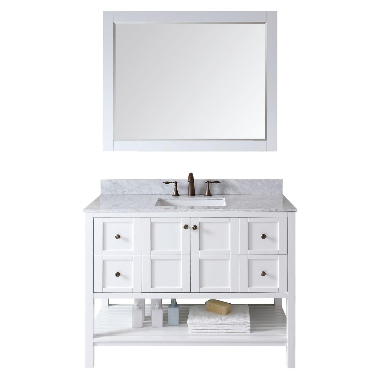 """Virtu Elise 36"""" Single Round Sink Granite Top Vanity in Espresso with Mirror"""