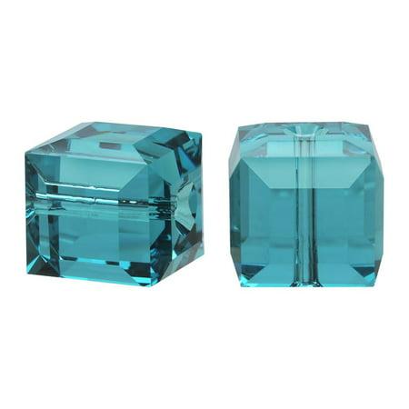 Swarovski Crystal, #5601 Cube Beads 8mm, 4 Pieces, Indicolite