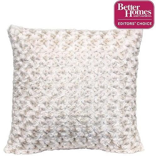 "Better Homes and Gardens Rosette 18"" Knife Edge Ivory Decorative Pillow"