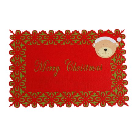 Hot Sale Merry Christmas Dinner Table Runner Placemat Cutlery Holder Mat Xmas Home Dinner Party Festival Decoration Supplies ()