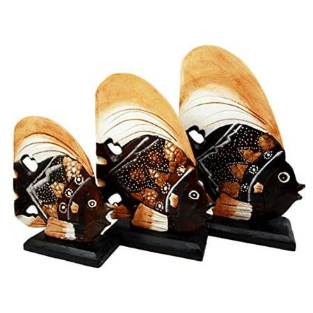 "Balikraft Hand Made Wood Artisans ""Ikan Matahari"" Solar River Angel Fish Family Set of 3 Decorative Figurines 10""H"