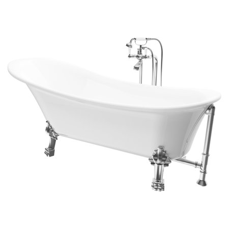 A and E Bath and Shower Dorya Free Standing Tub with Classic (Collection Freestanding Soaker Tub)
