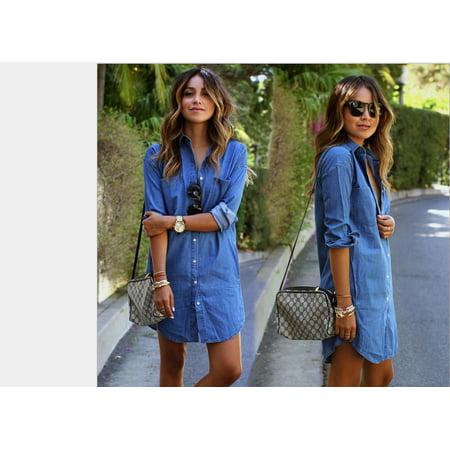 Women Denim Blue Jeans Dress Pocket Button Long Sleeve Shirt Loose Mini Dresses 2018 new (Xxl Shirt Dress)