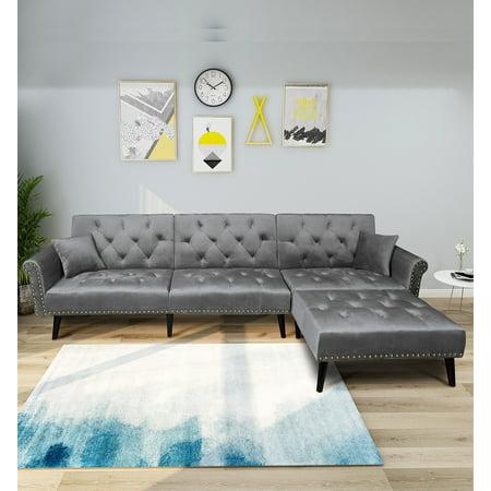 Sofas Sets - Vintage Modern Adjustable Sofa Bed Set Solid Wood High Resilience Sponge Seat ()