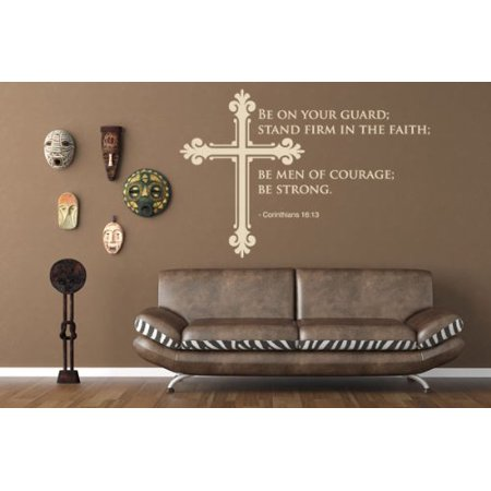 Gold Gravy Stand (Be on Your Guard, Stand Firm in the Faith, Be Men of Courage, Be Strong - Corinthans 16:13 Wall Decal - wall sticker, Christian quotes and sayings - W5174 - Silver, 31in x 21in )