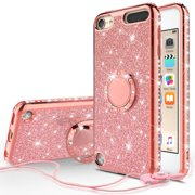 iPod Touch 6 Case, iPod touch 5 Case, [Tempered Glass Screen Protector],Glitter Ring Stand Bling Sparkle Diamond Case For Apple iPod 6/5 Generation Case - Rose Gold