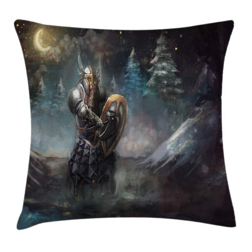 Ambesonne Fantasy Medieval Dwarf Knight Pillow Cover