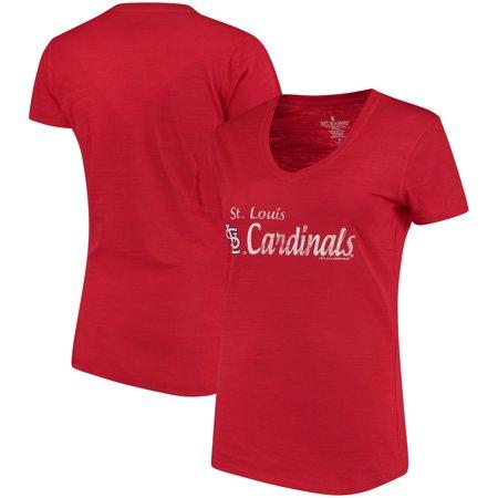 St. Louis Cardinals Soft As A Grape Women's Double Steal Tri-Blend V-Neck T-Shirt - -