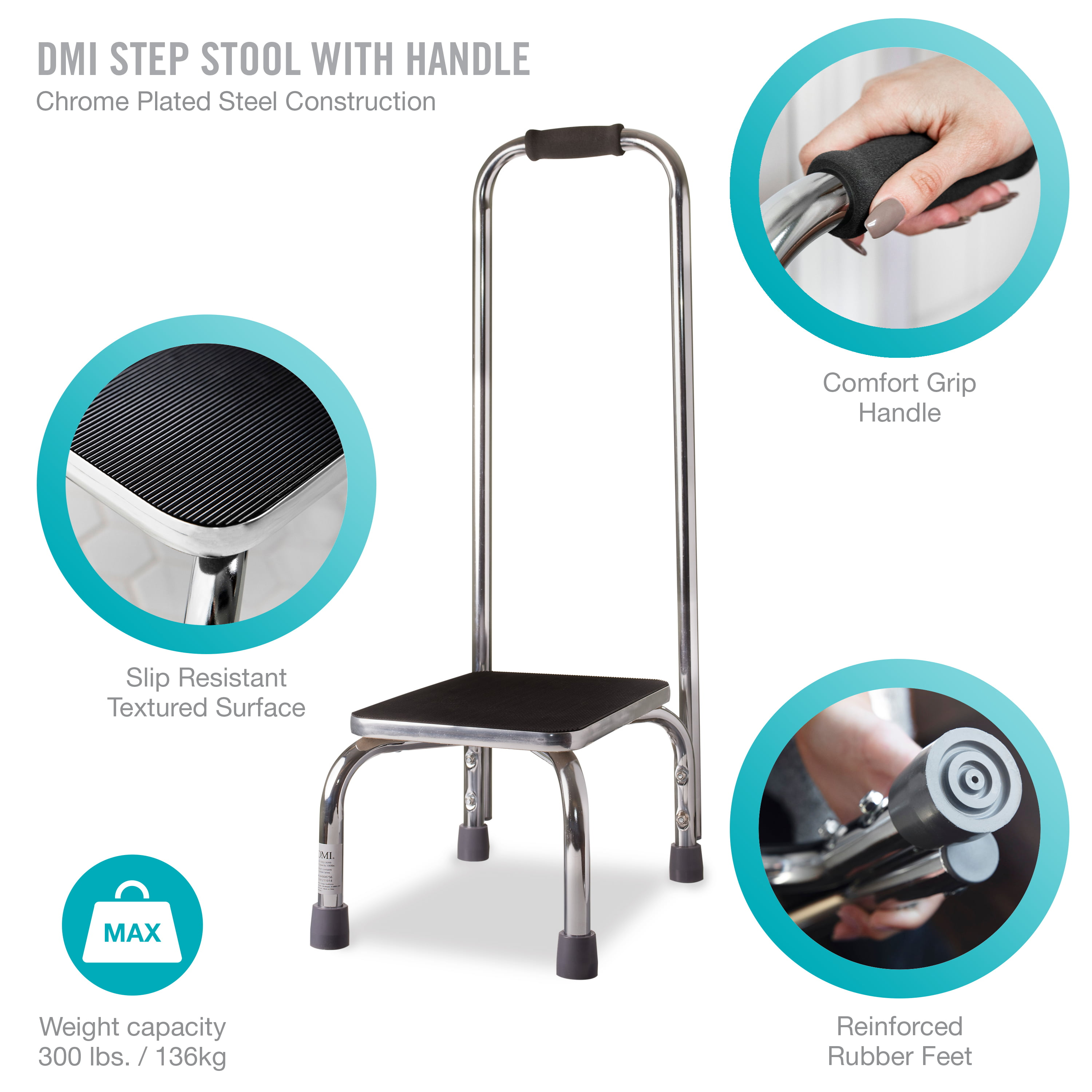 Superb Dmi Step Stool With Handle Heavy Duty Metal For High Beds Ibusinesslaw Wood Chair Design Ideas Ibusinesslaworg