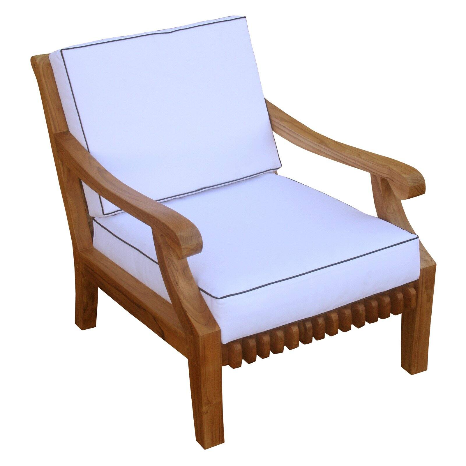 Chic Teak Teak Wood Deep Seating Indoor Outdoor Patio Lounge Chair With Cushion Walmart Com Walmart Com