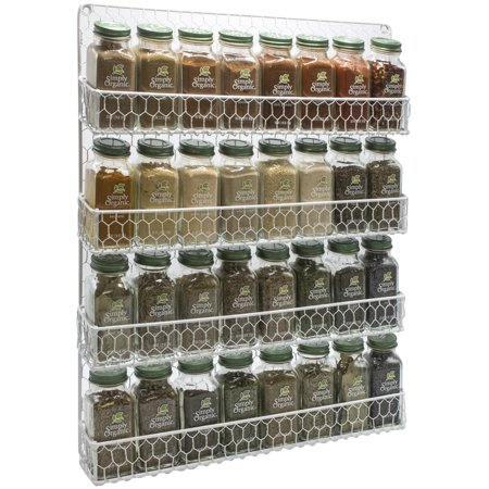 - Sorbus Spice Rack and Multi-Purpose Organizer-Decorative 4 Tier Wall Mounted Storage Rack -White