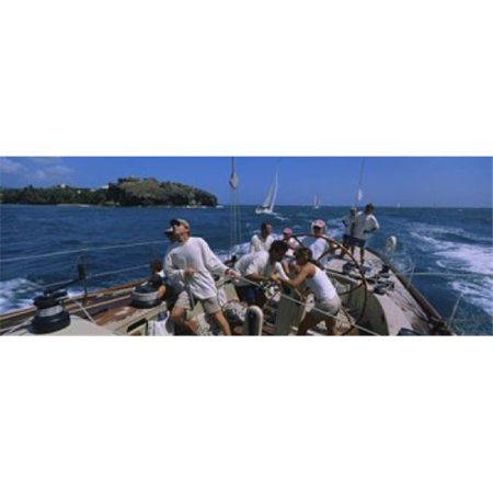 Panoramic Images PPI74008L Group of people racing in a sailboat  Grenada Poster Print by Panoramic Images - 36 x 12