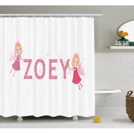 Baby Shower Themes Girl (Zoey Shower Curtain, Feminine Themed Baby Girl Name Magic Creatures Calligraphic Alphabet Letter Design, Fabric Bathroom Set with Hooks, 69W X 84L Inches Extra Long, Multicolor, by)