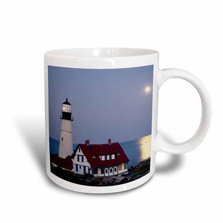3dRose USA, Maine, Portland, Cape Elizabeth, Lighthouse with full moon., Ceramic Mug,
