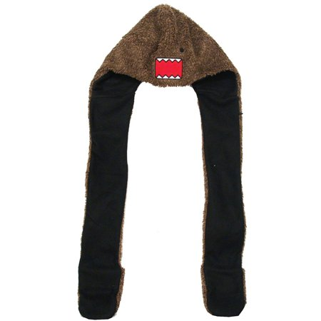 Domo Kun Angry Face Adult Snood Hat With Attached Scarf And Mittens