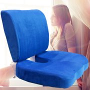 Memory Foam Back Lumbar & Coccyx Support Pillows Two Piece Set Sciatica & Pain Relief Seat Chair or Car Cushion Blue
