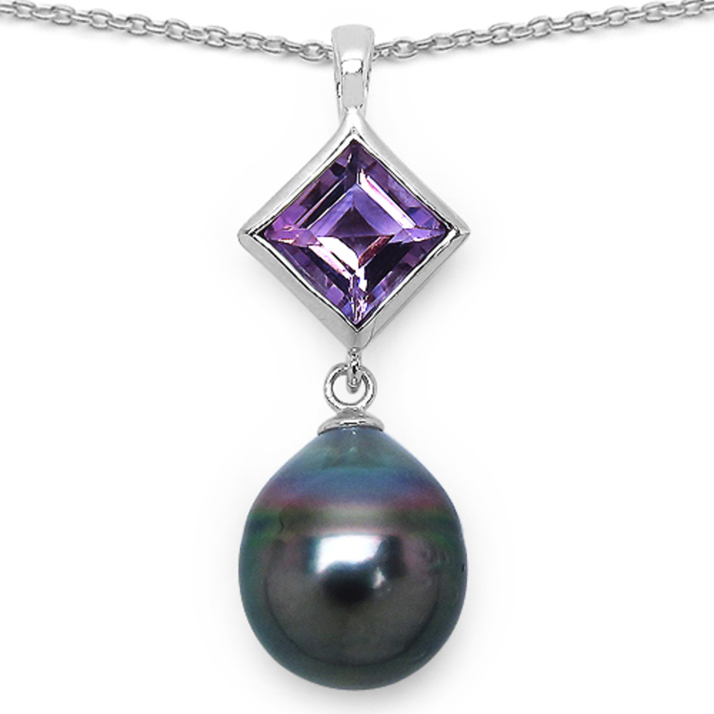 Genuine Square Amethyst Pendant in Sterling Silver
