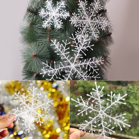 WALFRONT Christmas Tree Decoration 3D Snowflakes Hanging Ornaments Holiday Party Home Decor Accessories, Christmas tree decoration, Christmas tree snowflakes