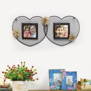 Adeco Trading Decorative Iron Double Heart Picture Frame