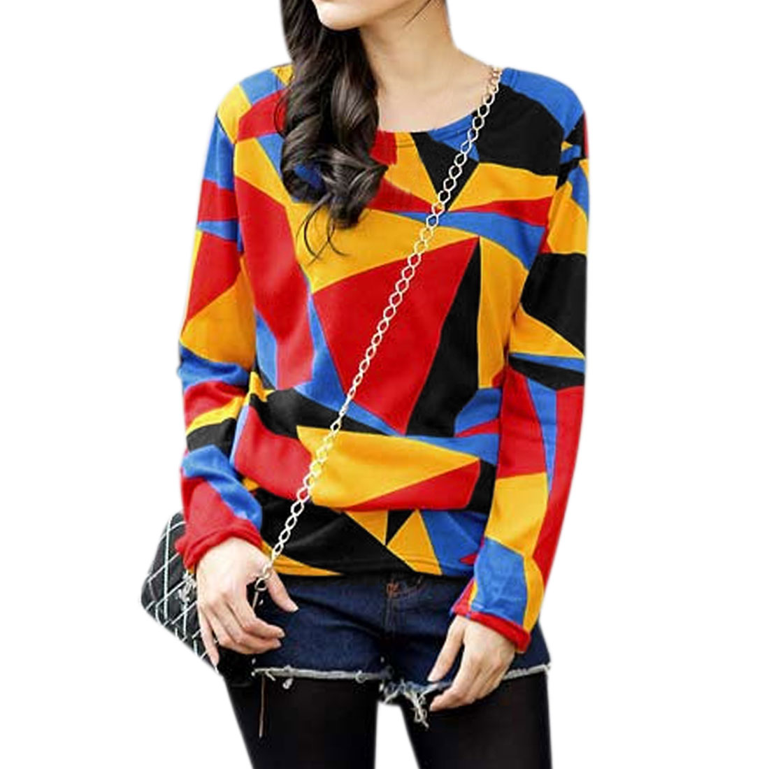 Women Geometric Prints Tunic Knitted Long Sleeve Top Multicolor XS