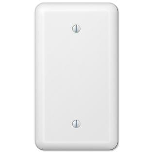 Plated White Enamel - White Metal Single Blank Wall Plate Cover Enamel Finish