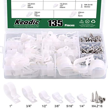 Keadic Cable Clamp 135 Pack White Nylon R-Type Cord Fastener Clips Assortment Kit with 135 Pack Stainless Steel Screws, Great for Wire Management - White