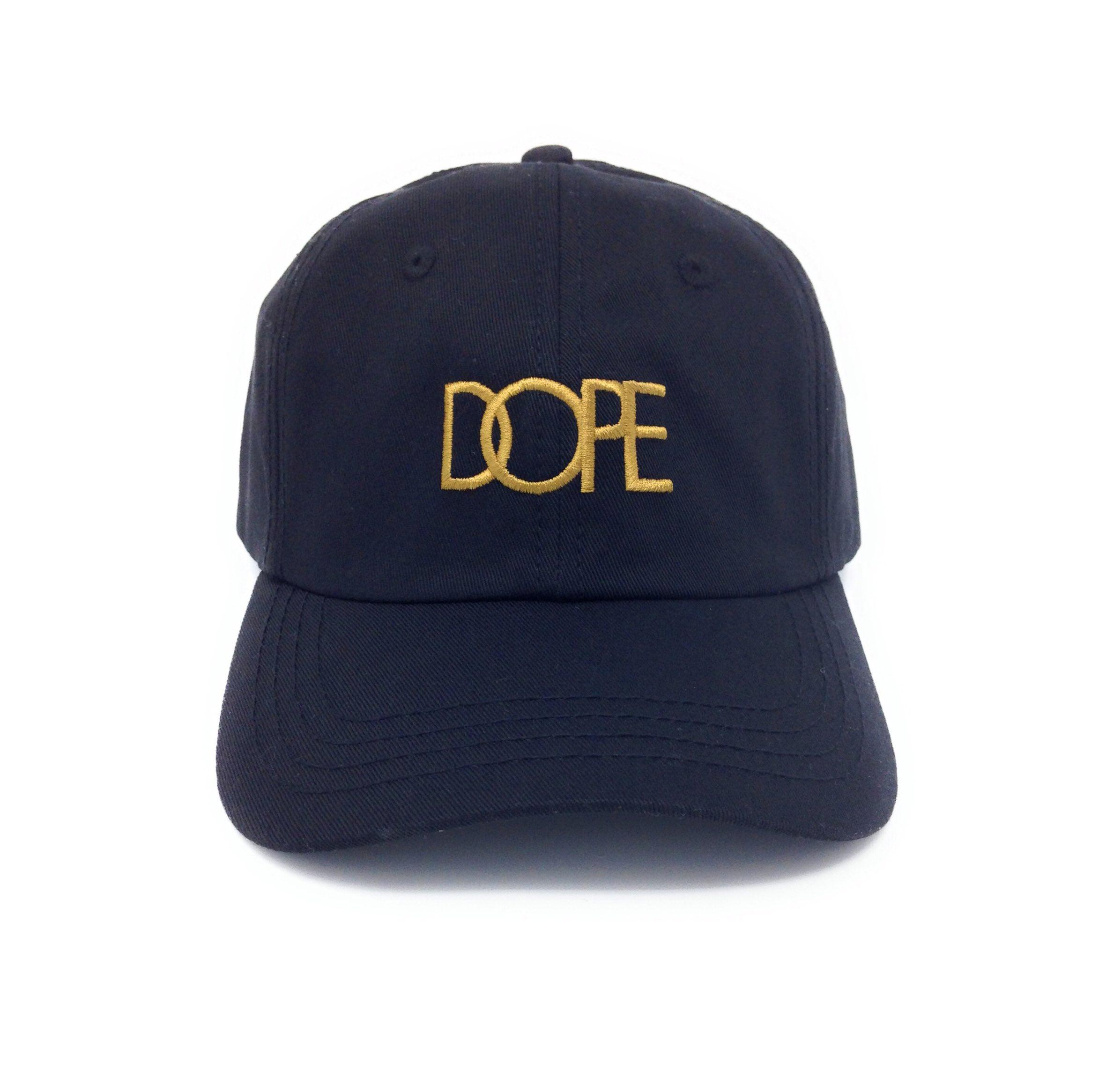 Dope Classic Gold Logo Black Strapback Dad Hat 7cacfac0f8d