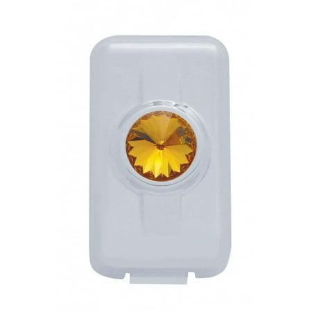 Chrome Plastic Volvo Switch Plug Cover W/ Diamond - Amber