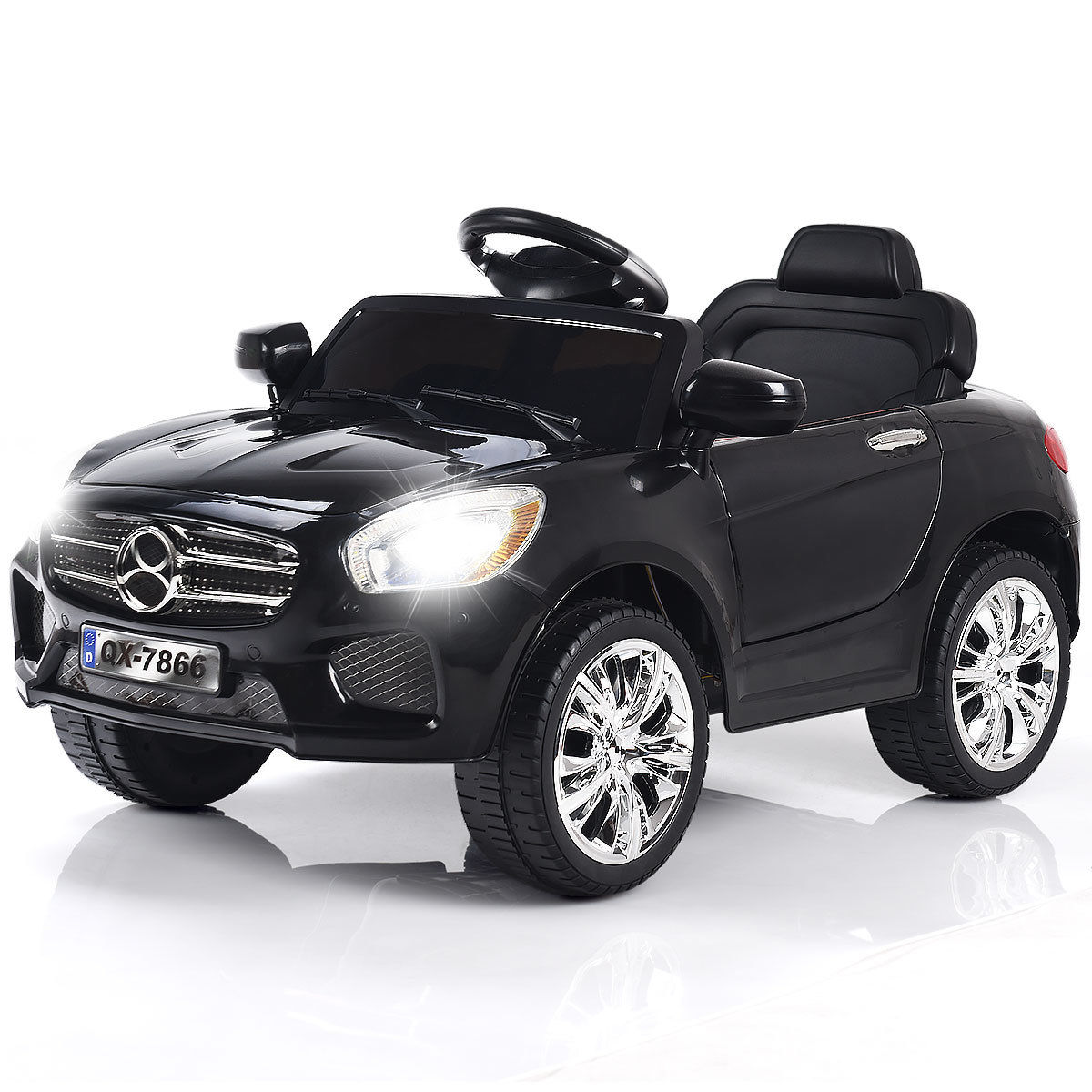 Costway 6V Kids Ride On Car RC Remote Control Battery Powered w/ LED Lights MP3 Red/Black