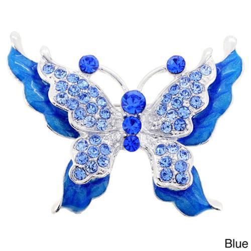 Silvertone Crystal Butterfly Brooch blue butterfly